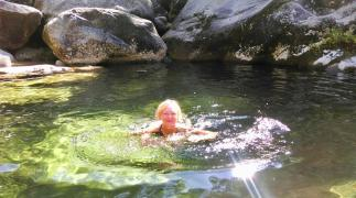 Rock pool swimming in Rio Pedras, Podra de Caraminal