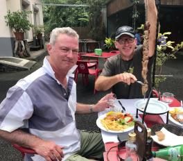 Phil and Paul tuck into a charcoal grilled kebab - of unknown origin